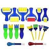 Joyibay 16Pcs Kids Paint Tool Diy Craft Sponge Painting Brush Sponge Brush Set