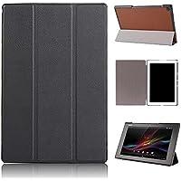 Ceavis SONY Xperia Z2 Tablet ケース スタンド機能付き 折り畳み 横開き 軽量型 (SONY Xperia Z2 Tablet, ブラック)