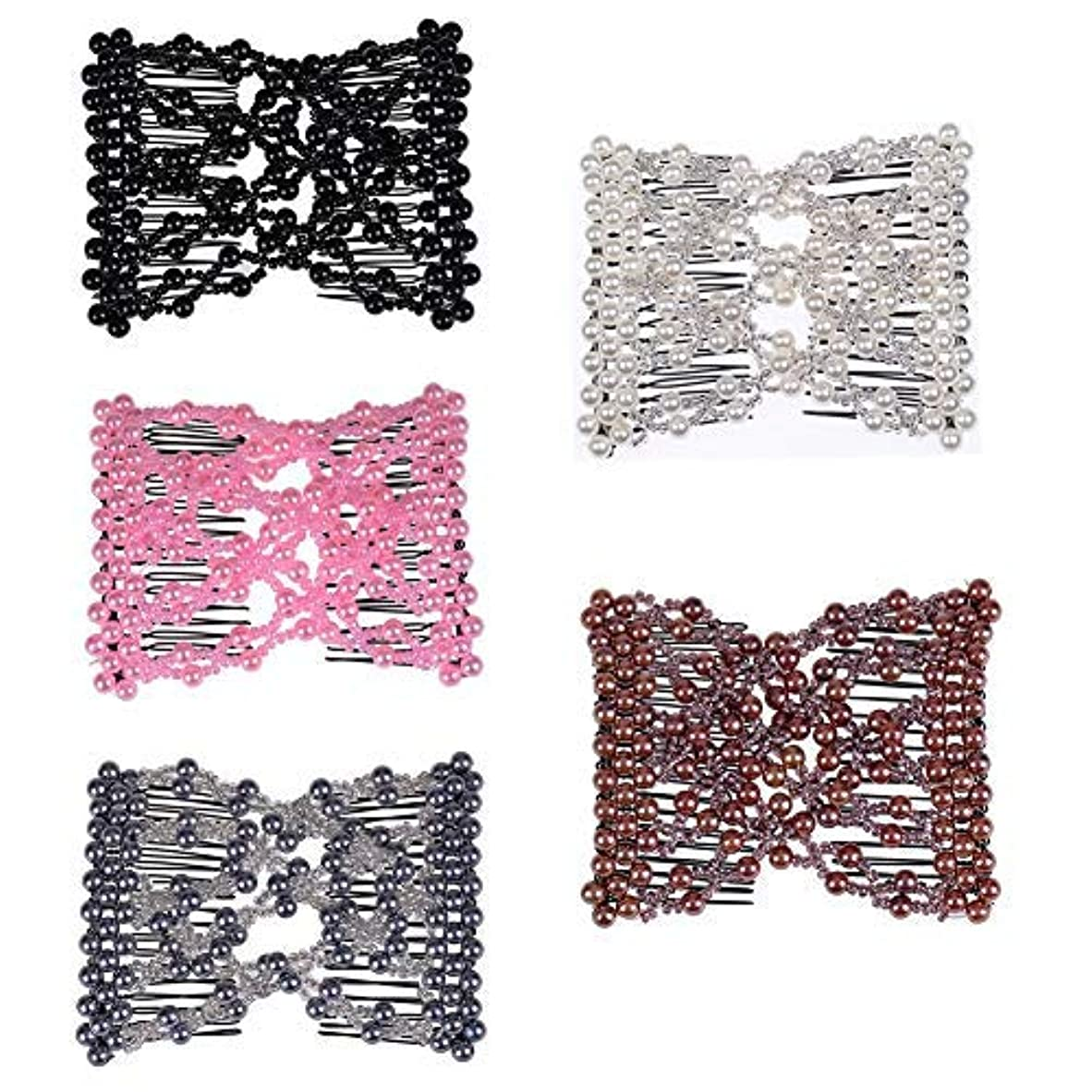 Casualfashion 5Pcs Ez Stretch Beaded Hair Combs Double Magic Slide Metal Comb Clip Hairpins for Women Hair Styling...