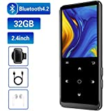 "32GB MP3 Player, Mibao MP3 Player with Bluetooth 4.2, Music Player with FM Radio, Recording, 2.4"" Screen, HiFi Lossless Sound, Support up to 128GB(Earphone, Sport Armband Included)"