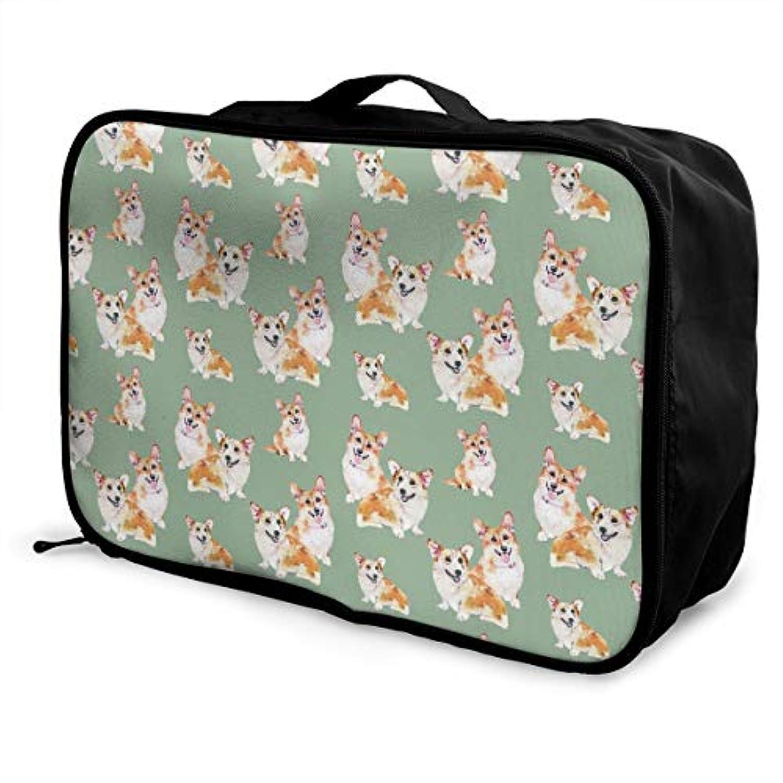 油絵 かわいい コーギー 多機能 軽量 大容量ポータブル ポータブル 旅行ストレージバッグ 荷物ポーチ 旅行ケース