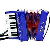 子供用アコーディオン 17鍵8ベース?ミニアコーディオン 黒 赤 青 楽器 知育玩具 音楽玩具 子供おもちゃ 子供向け (ブルー)