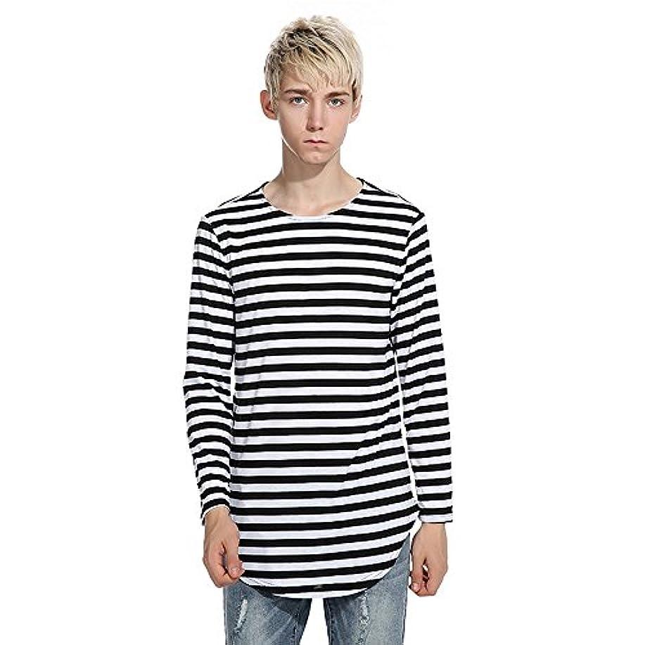 リフレッシュ買い物に行く舗装MJARTORIA メンズ tシャツ 長袖 ビッグシルエット スウェット クルーネック ボーダー ロング丈Tシャツ ヒップポップ Tシャツ オシャレ 4色 (S, ブラック)
