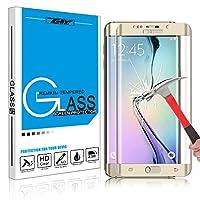 Samsung Galaxy S6 Edge (一枚ゴールド)専用強化ガラスフィルム ZENIC 9H硬度の液晶保護フィルム 気泡無 耐指紋 高透過率 超薄 0.3mm 3Dラウンドエッジ加工 全面カバーGalaxy S6 Edge新型フィルム(全五色)