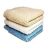 Kaikai タオル フェイスタオル 洗面 バスタオル 100%超長綿 3枚セット 3色(ホワイト、ブルー、ブラウン) 抜群な肌触り ふわふわ 瞬間吸水 速乾 高品質 ライフタオル 豊富な用途 純天然 ギフト用