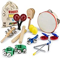 JaxoJoy Kids 10 PCS Musical Instruments & Percussion Toy Rhythm Band Set [並行輸入品]
