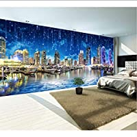Lixiaoer ウルトラHd夜の街夜の街の風景パノラマテレビの壁レストランカスタム3D壁紙高層ビル壁画-120X100Cm