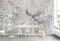 KAHSFA カスタム3d壁紙壁壁画3d壁紙レトロエルクフォレスト抽象的なパターン水彩森背景壁家の装飾-200cmx140cm