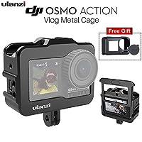 Rabugoo ULANZI Vloggingビデオケージ用DJI Osmoアクション保護アルミハウジングケースシェルGoProアダプター