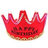 Funpa クラウン 帽子 LED 光る 電池式 パーティー 誕生日 記念日 イースター 応援会 お祝い プレゼント 出演 公演 母の日 レッド ブルー ピンク イェロー 布 3モード