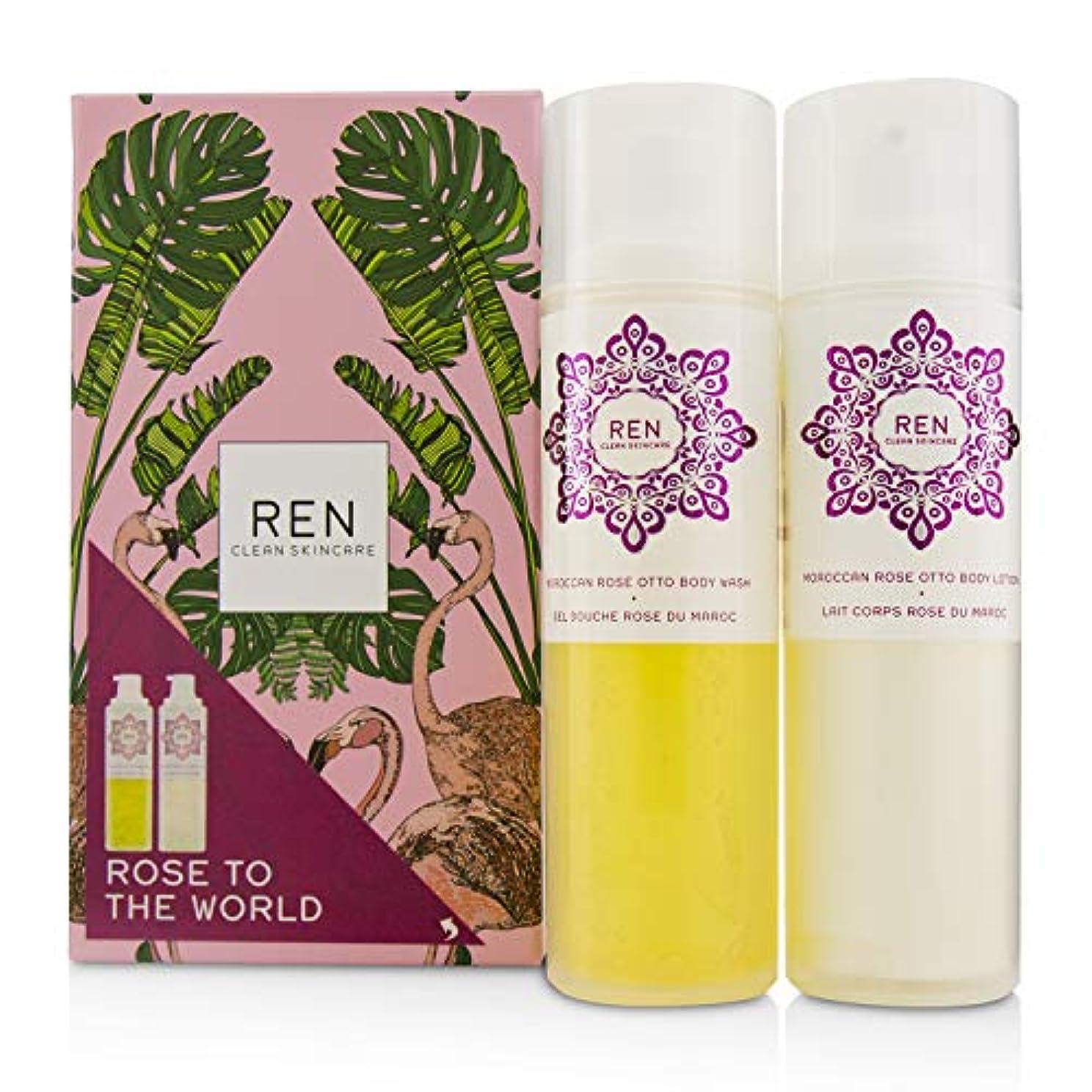 かび臭い準備した虚弱レン Rose To The World Moroccan Rose Otto Set: Body Wash 200ml + Body Lotion 200ml 2pcs並行輸入品