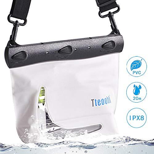Mercs Tteoobl 防水バッグ 100%完全防水 Mサイズ ショルダーバッグ 防水保護等級IPX8 海水浴 川遊び プール トラベル アウトドア 防災 必需品 (ホワイト)