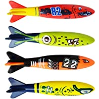 Tivollyff おもちゃ 子供用 4Pcs / SetダイビングTorpedo水中スイミングプール遊ぶおもちゃ屋外スポーツトレーニングツール 赤&緑&黒&黄