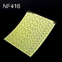 MYKUNSIA偽の爪パッケージネイルビニールステッカー不規則なグリッドパターンスタンピングのヒントネイルテンプレート中空ステッカーガイド NF416