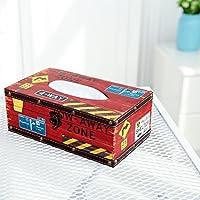 レトロRoad Signデザインティッシュボックスカバーホルダーwith Leatherette Texturedとラッチロック M レッド TB-BATH0114RED
