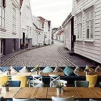 Xbwy ヨーロッパスタイル白小さな町3Dステレオ壁画レストランリビングルームの背景壁空間拡張現代の装飾壁画-200X140Cm