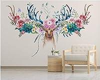 Mbwlkj モダンなMinimalist3D壁紙シンプルな古典的な北欧の花アメリカの鹿の頭花の壁の背景-350cmx245cm