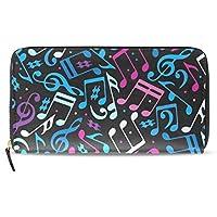 MASSIKOA Music Notes PU Leather Long Wallets Zipper Clutch Ladies Purse Wallet for Women Girl