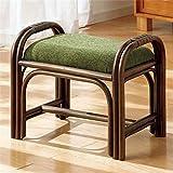 籐立ち上がりスツール 玄関椅子 【グリーン ( 緑 ) 】 木製 幅47cm 持ち手付き 軽量