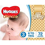 Huggies Ultimate Nappies, Boys, Size 3 (6-11kg), 72 Count