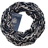 Auppova Women Scarf,Women Fashion Accessories Scarf Geometric Pattern Loop Infinity Scarf Shawl Wrap With Hidden Zipper Pocket Warm Travel Couple Scarf,Travel Scarf