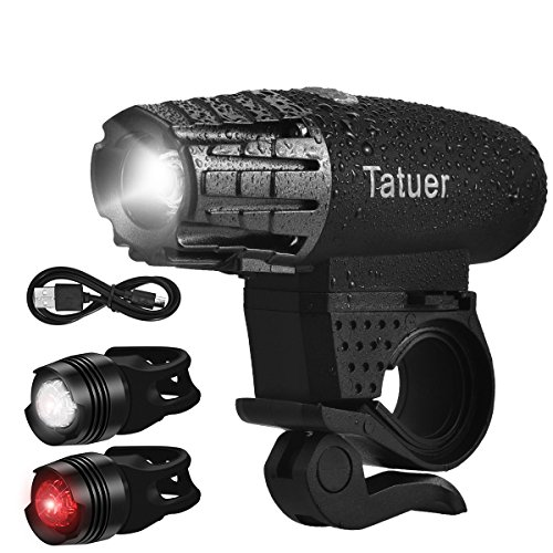 Tatuer 自転車 ライト USB充電式 IP65防水 自転車ヘッドライト 360度回転可能 小型自転車前照灯 高輝度 テールライト 2個セット付き 4モード調節可能 アウトドア 防犯 防災などに最適