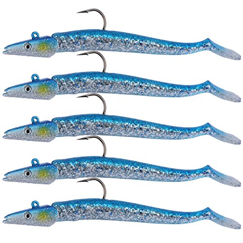 Goture Soft Fishing Lures Lead Head Jigs with Hooks Sparkling Sequins 5 Colors Available