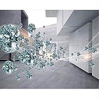 Wuyyii 壁紙カスタム3Dクリスタルボール抽象スペース建築レンガの壁のリビングルームの装飾壁画壁紙-280X200Cm