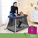 Newborn Baby Portacot Travelling Bed Foldable Portable Mattress Crib Bassinet (Navy)
