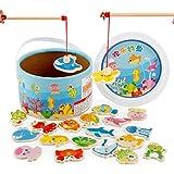 Blackfell クリエイティブ木製磁気釣り玩具セット釣り学習教育プレイセット釣りゲームおもちゃ用男の子&女の子