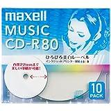 maxell 音楽用 CD-R 80分 インクジェットプリンタ対応ホワイト(ワイド印刷) 10枚 5mmケース入 CDRA80WP.10S