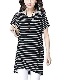 Ninkisann Tシャツ レディース ブラックホワイト ボーダー柄 ロングTシャツ ワンピース ポケット付け 前後差をつけ 夏 ファション 可愛い 通勤通学 ルームウェア 半袖シャツ
