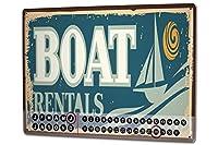 カレンダー Perpetual Calendar Nostalgic Boat rental Tin Metal Magnetic