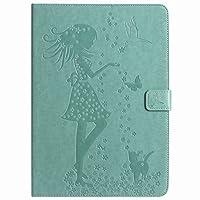 Yiizy Apple iPad Pro 9.7 ケース 手帳型 カバー 本革ソフトレザー 対応 ケース カードポケット スタンド機能 マグネット式 財布型 カバー 女性と猫 (グリーン)