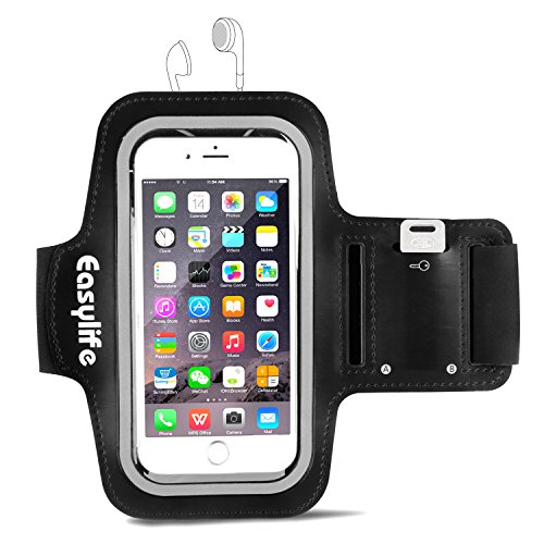 Easylife アームバンド キーポケット付き スポーツ用 iPhone 6 Plus/6s Plus/Androidなどのスマホ(5.5インチまで)に対応可能 ブラック