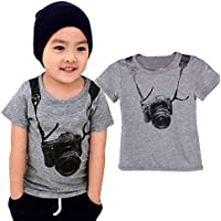 Lookatool Summer Children Boy Kids Camera Short Sleeve Tops O Neck T Shirt Tees