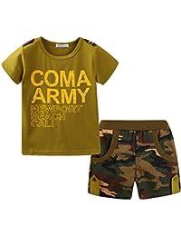 LittleSpring 子供服 プリント Tシャツ 迷彩 ショートパンツ 上下セット キッズスーツ 男の子