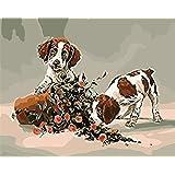 数字でDiy油絵、数字キットでペイント - 2トリックオアトリート子犬16 * 20インチリネンキャンバス - 大人のためのデジタル油絵壁アートアートワーク上級子供高齢者ジュニア