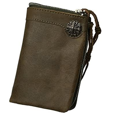 ビンテージ本牛革(リアルレザー)コンチョ付二つ折財布(ウォレット) (オリーブ(Olive))