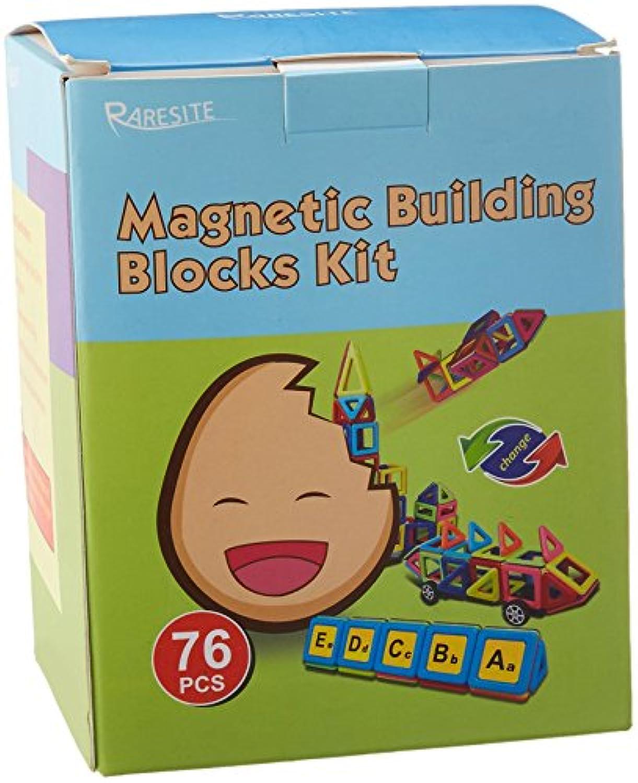 マグネットブロックおもちゃセット 幼稚園 教育用スタッキングトイ 76ピース 3Dマグネット式組み立てキット 3歳以上の子供用