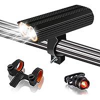 自転車ライト 最新型自転車用ヘッドライト 2400ルーメン 4400mah IP65防水 テールライト付き USB充電式
