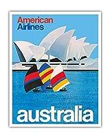 オーストラリア - オペラシドニー - アメリカン航空 - ビンテージな航空会社のポスター c.1969 - アートポスター - 41cm x 51cm
