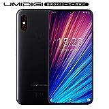 UMIDIGI F1 Play SIMフリースマートフォン Android 9.0 6.3インチ 48MP+8MPデュアルリアカメラ FHD+ 大画面 ノッチ付きディスプレイ 64GB ROM + 6GB RAM Helio P60オクタコア 5150mAh大容量バッテリー 18W高速充電 顔認証 指紋認証 技適認証済み au不可 ブラック