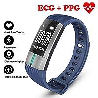 歩数計フィットネストラッカースマートブレスレット ECG & PPG モニタリングリアルタイム心拍数血圧スポーツ用アンドロイド iOS,Blue