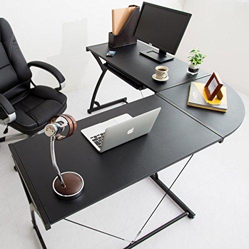 【広大自由に使えるオフィスデスク L字型コーナーデスク】 左右どちらも対応 システムパソコンデスク 分離して使用可能 キーボードスライダー付 2つのグラつき防止 ブラック色
