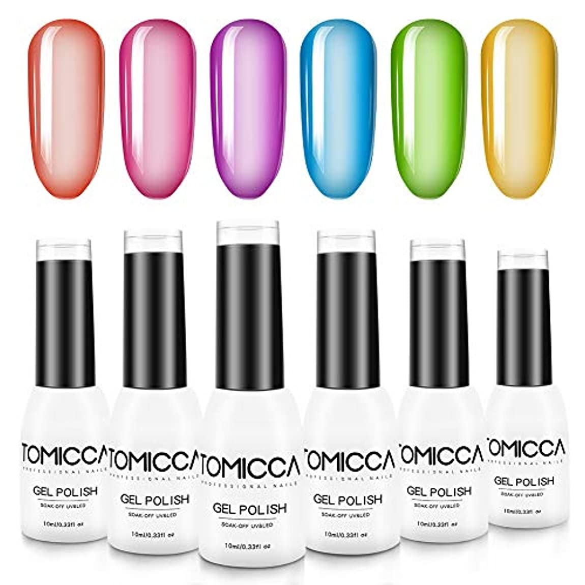 株式贈り物うぬぼれたTOMICCA ジェルネイル カラー 6色セット 10ml ピンキーカラー 色持ち良い 可愛い 初心者用カラージェル