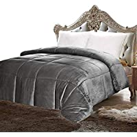 Utopia Bedding Sherpa フランネル素材掛け布団()-高級寝具掛け布団、超ソフト、ボックススティッチ模様 -温かくて柔らかい、ホテル仕様の品質ー ツイン