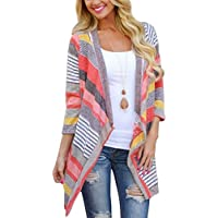 Sophiya Women's Striped Printed Cardigans 3/4 Sleeve Kimono Open Front Draped Knit Cardigan Sweaters