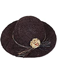HONEY レディースバイザーハット   麦わら帽子   手作りの花の装飾 休日 旅行
