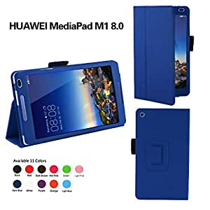 【MOKO】【タッチペン付き】Huawei MediaPad M1 8.0 403HW専用ケース 高級PUレザー グネット開閉式ケース タッチペンホルダー付き 手持ち付き (Huawei MediaPad M1 8.0, インディゴ)